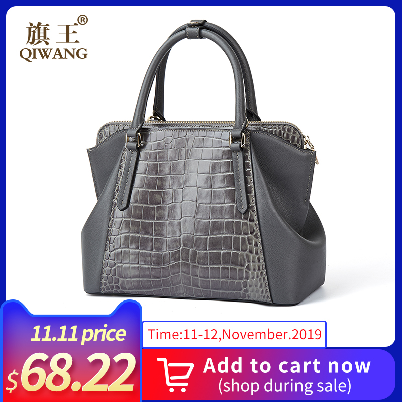 Qiwang Tote Handbag For Women Famous 100% Genuine Cow Leather Lady Hand Bag 2019 Vintage Gray Handbag Female Shoulder Bags