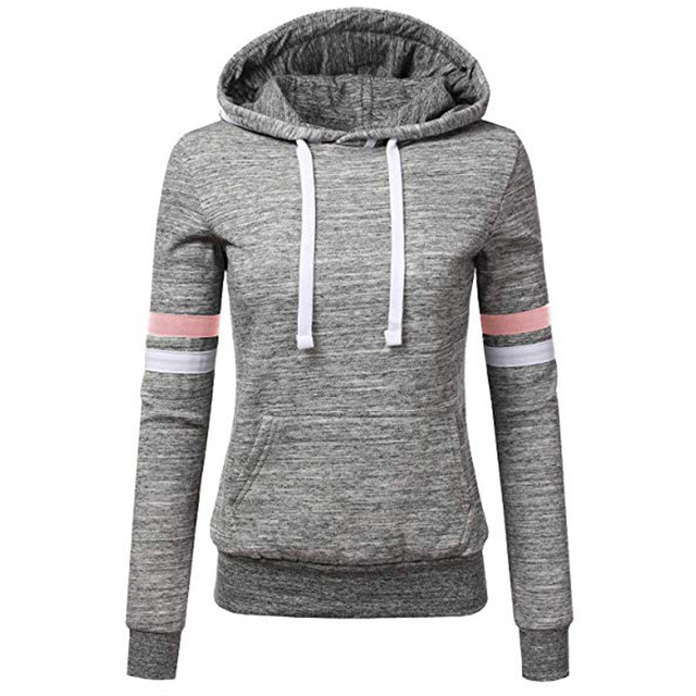 Woman hoodie Sweatshirts ladies women's hoodies Women Stripe Long Sleeve Blouse Hooded Pocket Pullover Tops Shirt D300721