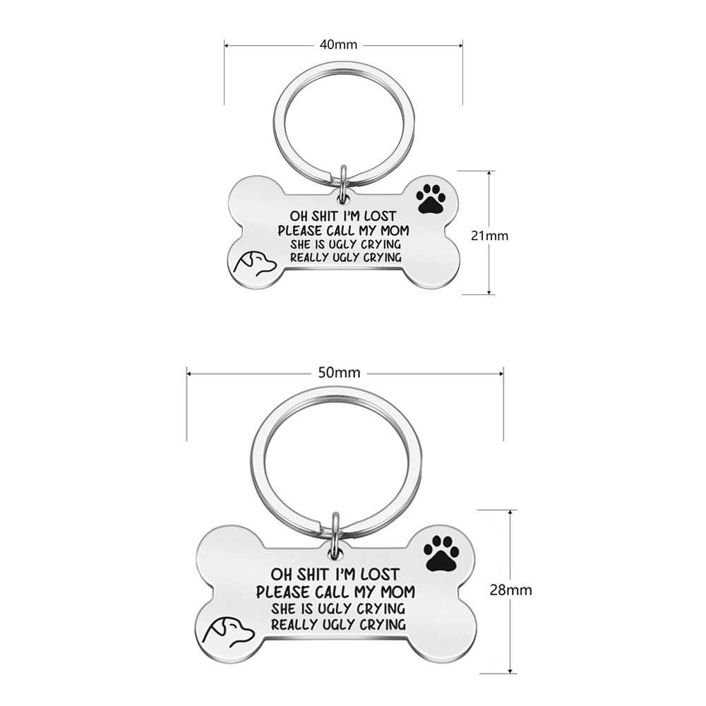 Chống Mất Khắc Thú Cưng ID Thẻ Bài Móc Khóa 2 Mặt Hình Chú Chó Phụ Kiện Trang Trí Mèo Vòng Cổ Chó Tùy Chỉnh các Thẻ