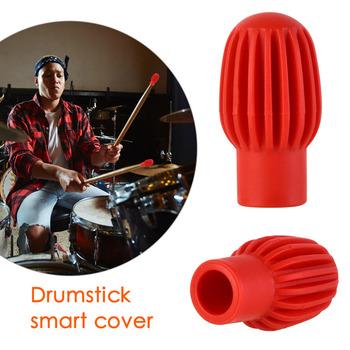 2 sztuk 4 sztuk silikonowy bęben kij rękaw Drumstick Cap praktyka porady ochronne wyciszenie tłumik silikonowy bęben trzymać rękawy trzymać głowy tanie i dobre opinie CN (pochodzenie) 33*15mm 1 3*0 6inch