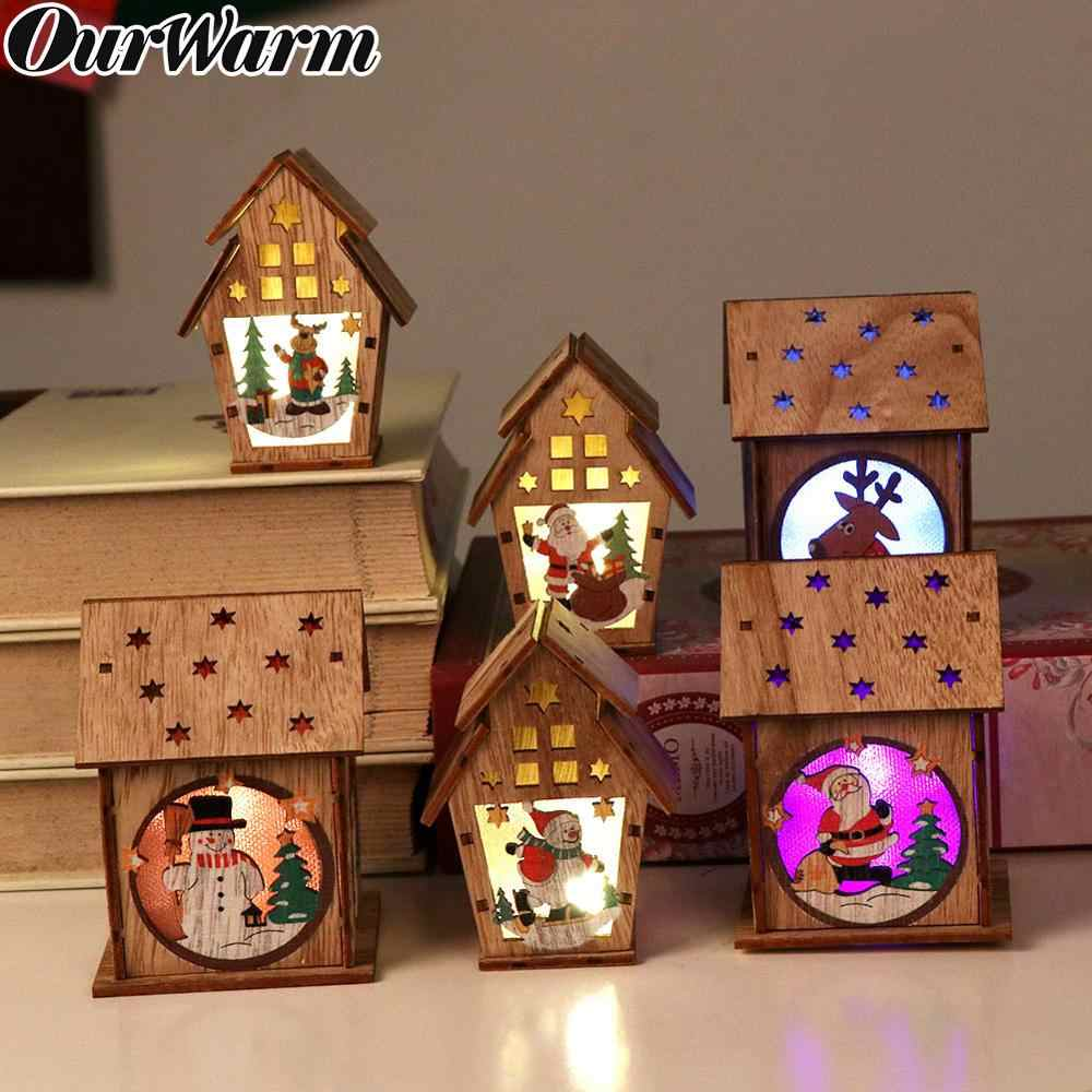 OurWarm Wooden Christmas Lighted Cabin Assembling Small House Christmas Tree Ornaments New Year Gifts Glowing Colored Cottage