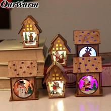 OurWarm Wooden Christmas Lighted Cabin Assembling Small House Tree Ornaments New Year Gifts Glowing Colored Cottage