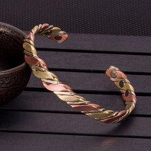 Vinterly – Bracelets torsadés en cuivre pour femmes, couleur or Rose, énergie de santé, manchette magnétique ajustable