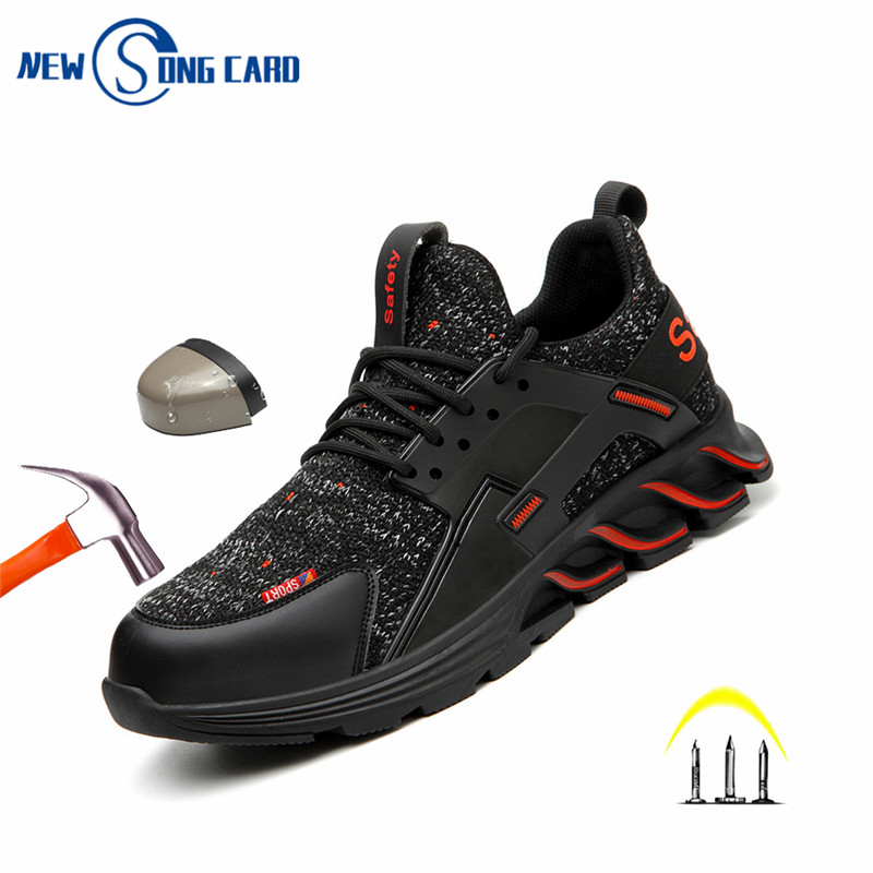 comfortable safety shoes men Leisure Work Shoes Steel Toe Absorption Safey Boots Anti Puncture Smashing Outdoor men sneakers men