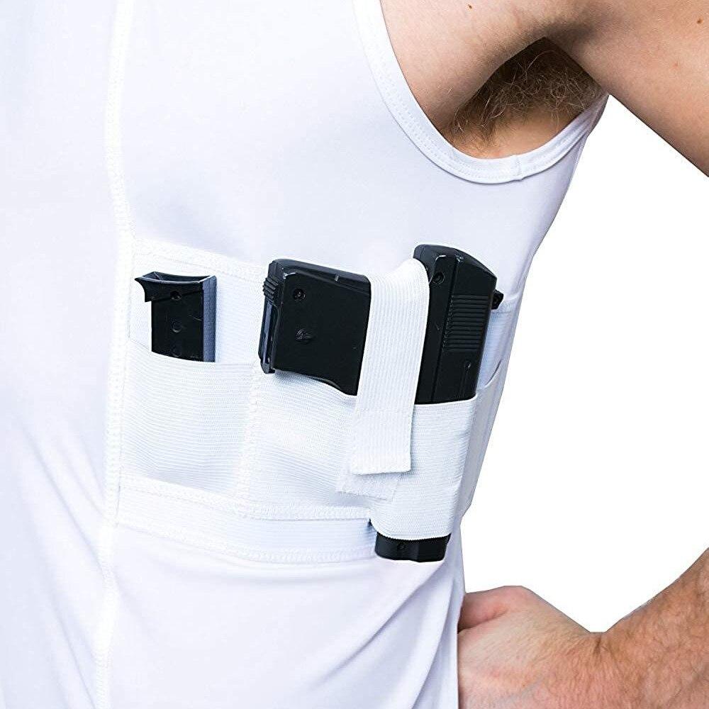 LOVESLF Concealment Men Womens Tank Scoop Neck Shirt Gun Holster Shirt Tactical SS Holster Shirt Concealed Carry Clothing