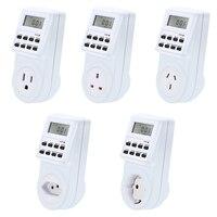 Reino unido da ue eua fr br plug digital casa inteligente programável tomada de parede elétrica interruptor do temporizador tomada relógio 220v 110v ac