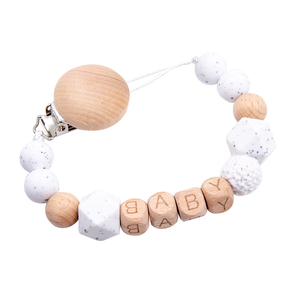 Wooden Safety Nipple Anti-Chain Rubber Chain Pacifier Nipple Anti-Collapse Clip