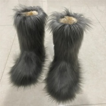 Winter fur boots real fur boots winter boots women's ladies winter fashion faux suede slim boots for women's boots