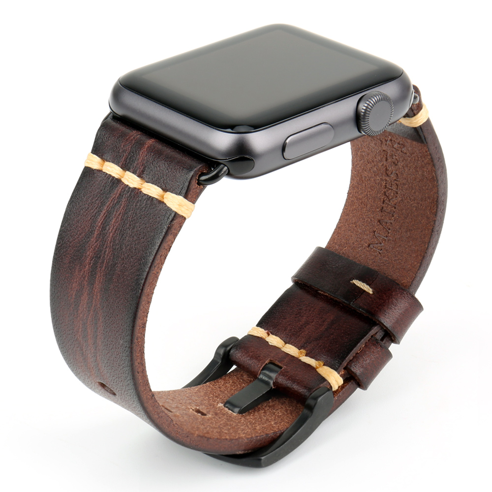 Image 4 - Handmade Italian Cow Leather Strap Watch Band For Apple Watch 44mm 40mm 42mm 38mm Series 5 4 3 2 iWatch WatchbandsWatchbands   -