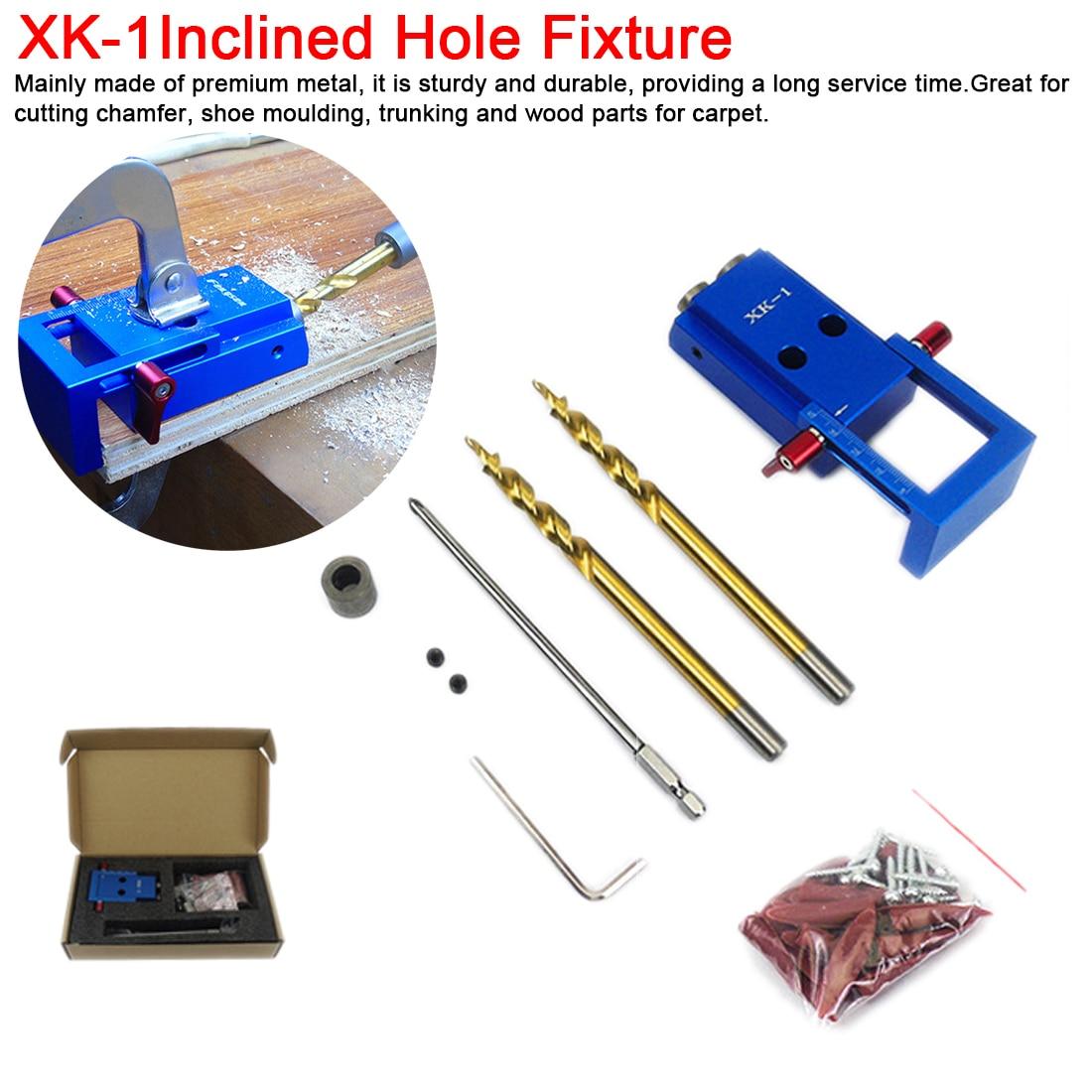 Holzbearbeitung Tasche Loch Jig Kit 6/8/10mm Winkel Drill Guide Set Loch Puncher Locator Jig Bohrer bit Set Für DIY Zimmerei Werkzeuge
