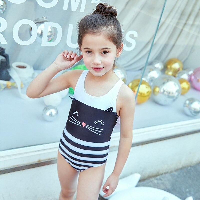 2019 New Style KID'S Swimwear Big Boy Black And White Stripes Cat Cute GIRL'S One-piece Hot Springs Swimwear
