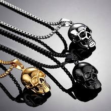 Punk Stainless Steel Skull Chain Pendant Necklace Vintage Gold Color Black Hip Hop Statement