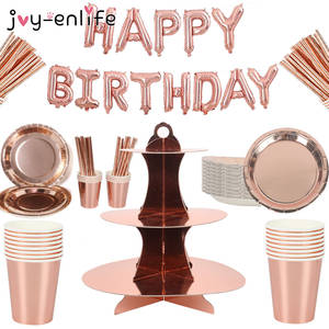 Paper Tablecloth Party-Decoration-Supplies Bronzing-Plate Rose-Gold Birthday-Party Wedding