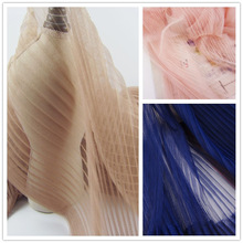 5Metres Apricot Evening Gowns Pleated Mesh Lace Fabric White Royal Blue Crumpled Tulle Net Fabric For Wedding Organ Skirt Dress