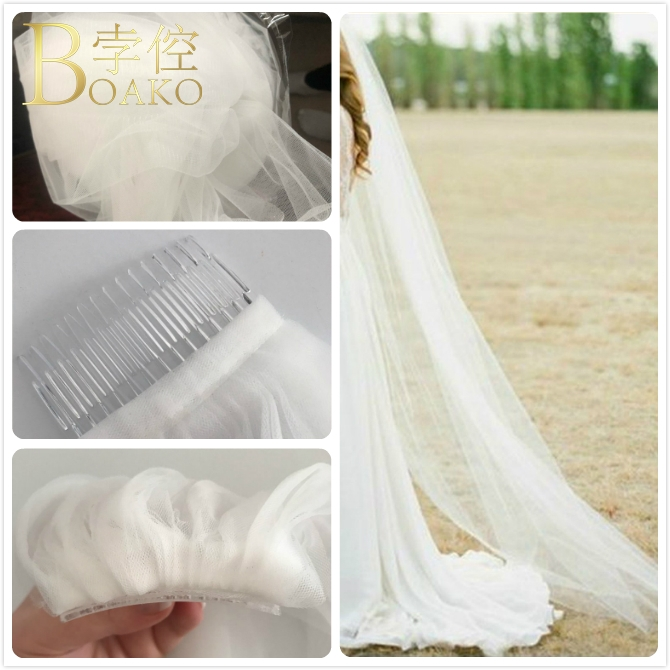 2m Long One Layer Wedding Veil Minilanism Bridal Veils Lace Cathedral Veils With Comb Wedding Accessories Voile De Mariee K3