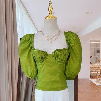 HIGH STREET moda de verano 2020 blusa de diseñador de mujer de media manga cuello cuadrado blusa Top