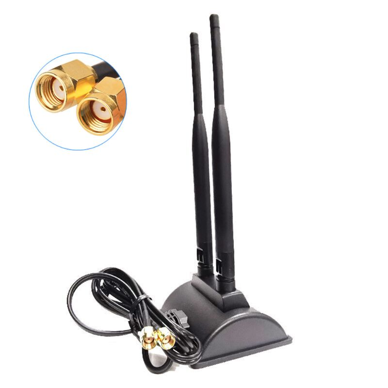 5G Dual Band WiFi Antenna High Gain 6DBi Omni Directional RP-SMA Plug Connector With Magnetic Base For PCI-E Card Indoor Wireles