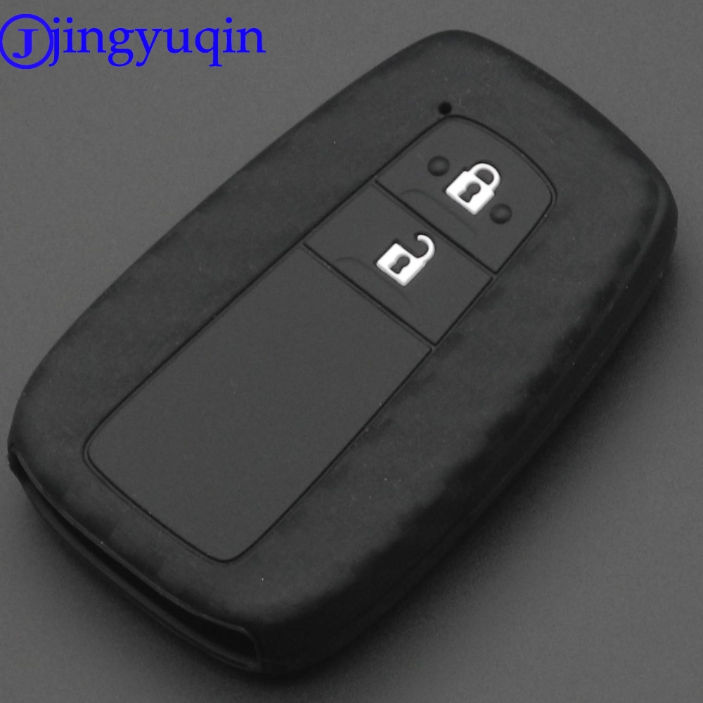 jingyuqin car styling 2 Buttons Remote Carbon Silicone Car Key Fob Case Cover Holder For Toyota CHR C-HR 2018 Prius Accessories