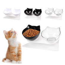 Gato doble tazón cuenco para gatito de perro Material transparente antideslizante de la comida con protección Cervical transparente gato suministros