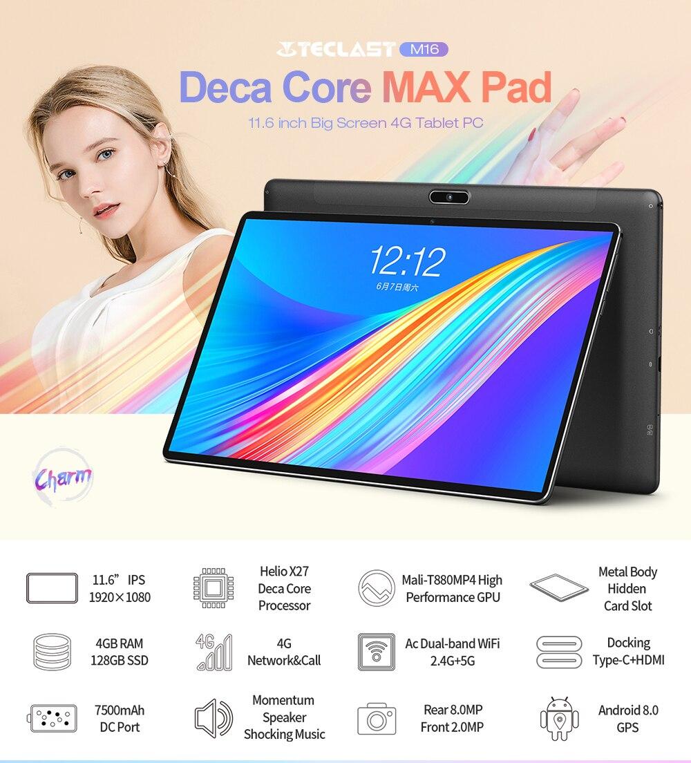 Image 2 - Teclast m16 tablet 11.6 polegada 4g phablet mt6797 (x27) android 8.0 1920*1080 2.6 ghz decore cpu 4 gb 128 gb 8.0mp + 2.0mp câmera duplaTablets   -