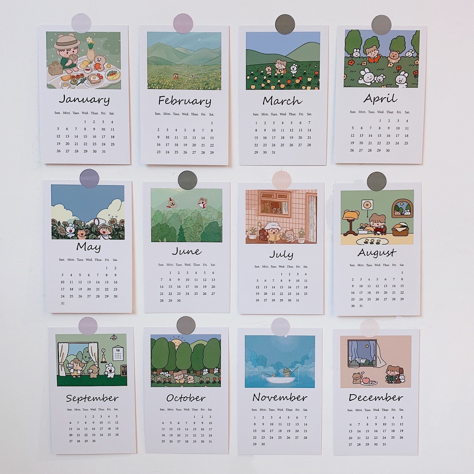 TOYOU 12 Sheets Forest Girl Calendar Card Room Wall Illustration Concise Background Decorative Sticker Card Cute Diy Stationery