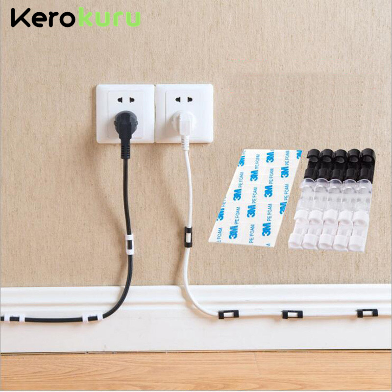 USB Cable Winder Cable Organize Clip Flexible Cable Management Holder For TV Line Cable Mouse Computer Earphone Headphone Clips
