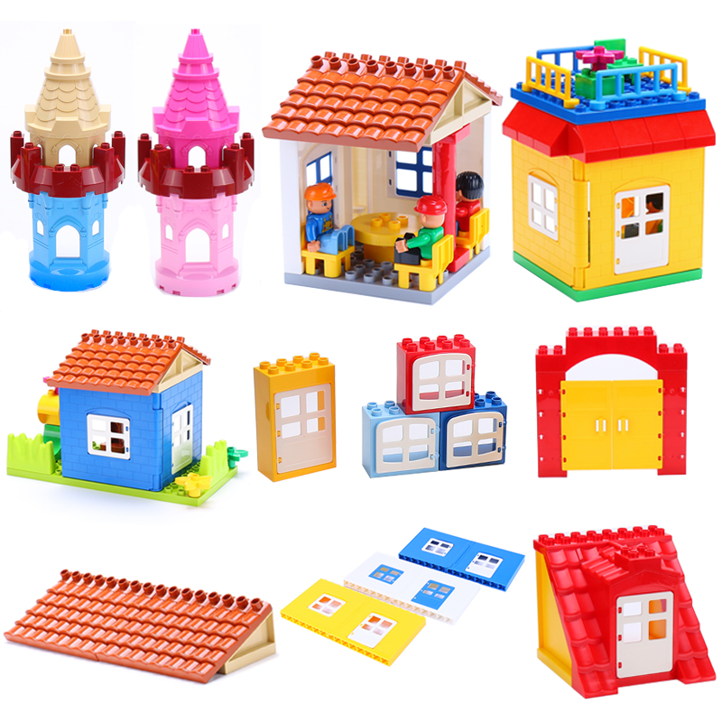 Large Particles Assembling Accessories Set Big Building Blocks DIY Toys Creativity Compatible With Duplo Roof House Building
