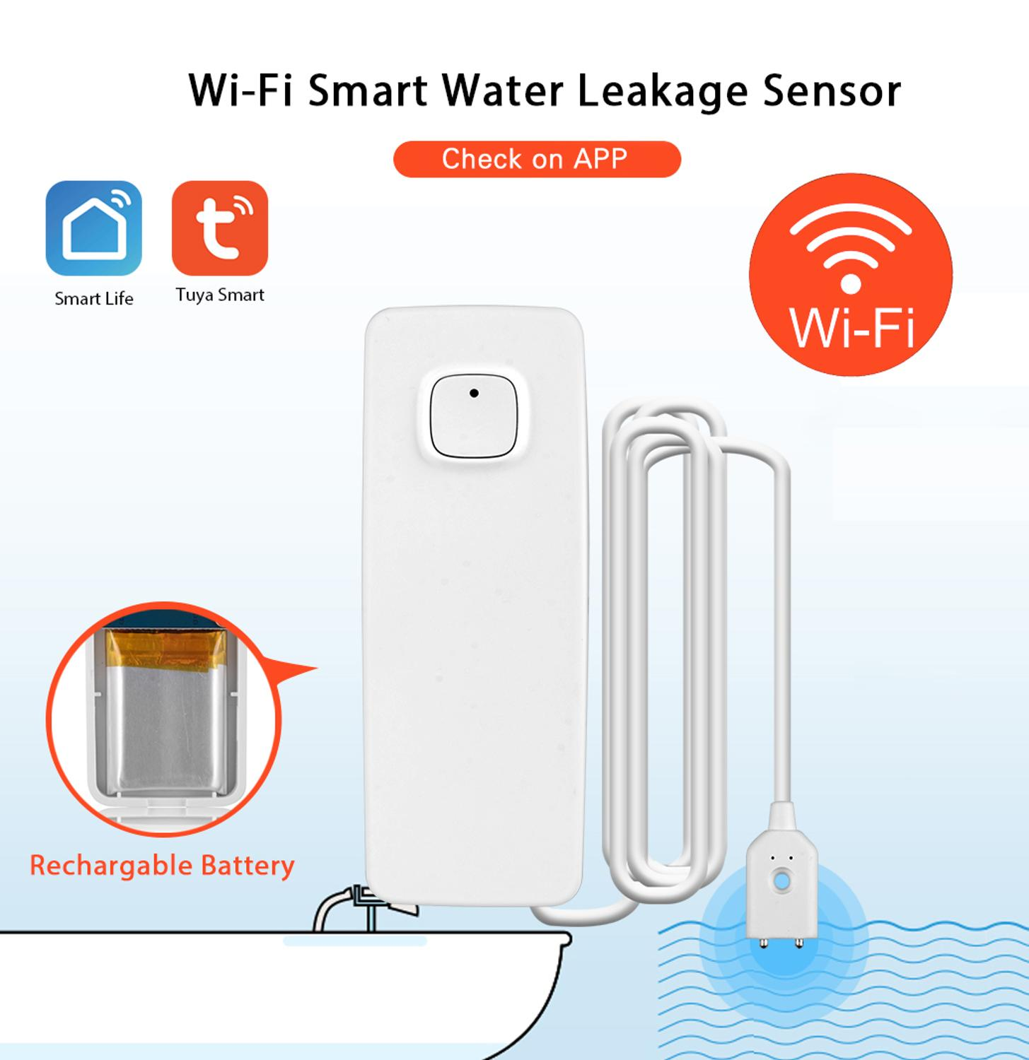 WiFi Smart Water Leakage Detector Flood Overflow Alert Security Alarm System Tuya/Smart Life App Remote Real Time Feedback