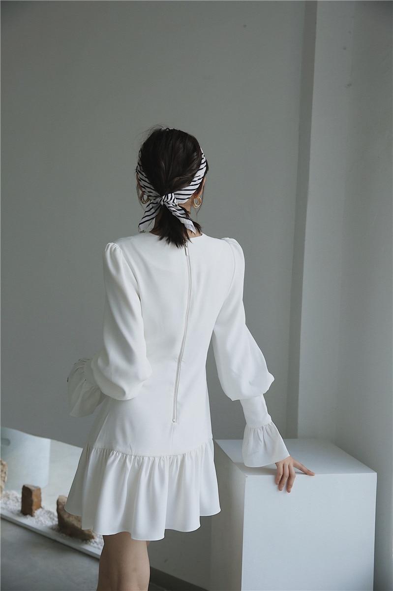 H197cf9cf164a4bfa97aad0261ee72e89O - Spring Korean Deep V-Neck Long Flare Sleeves White Mini Dress