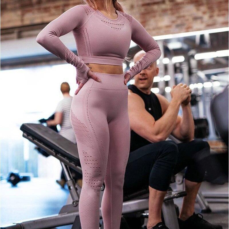 Image 3 - Women Seamless Gym Sets High Waist Gym Mesh Leggings Shirts Suit  Long Sleeve Fitness Workout Sports Running Thin Sport SetsWomens Sets