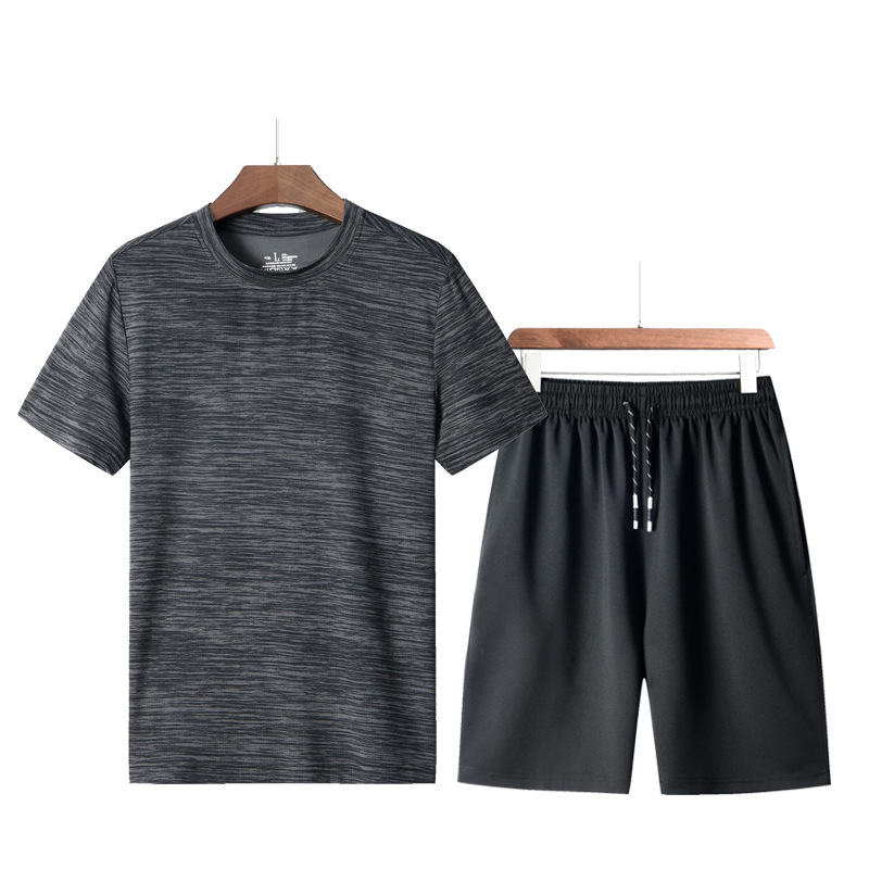 Men's Sport Suit Summer Men's Loose T-shirt Running Leisure Short Sleeves Quick-Dry Sports Suit