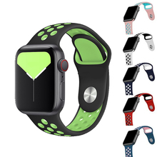 Band for Apple Watch 5 4 3 2 1 42MM 38MM soft Breathable strap Silicone Sports bands for Nike+ Iwatch series 5 4 3 40mm 44mm silicone double buckle sports watch straps for apple watch band 44mm 42mm 40mm38mm series 5 4 3 2 1 wrist bands for iwatch strap