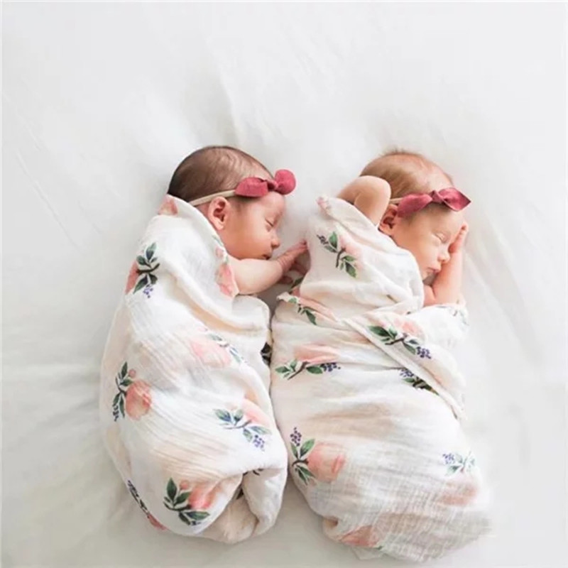 Naturel And Safe Bamboo And Cotton Muslin Baby Swaddle Blankets With Your Logo