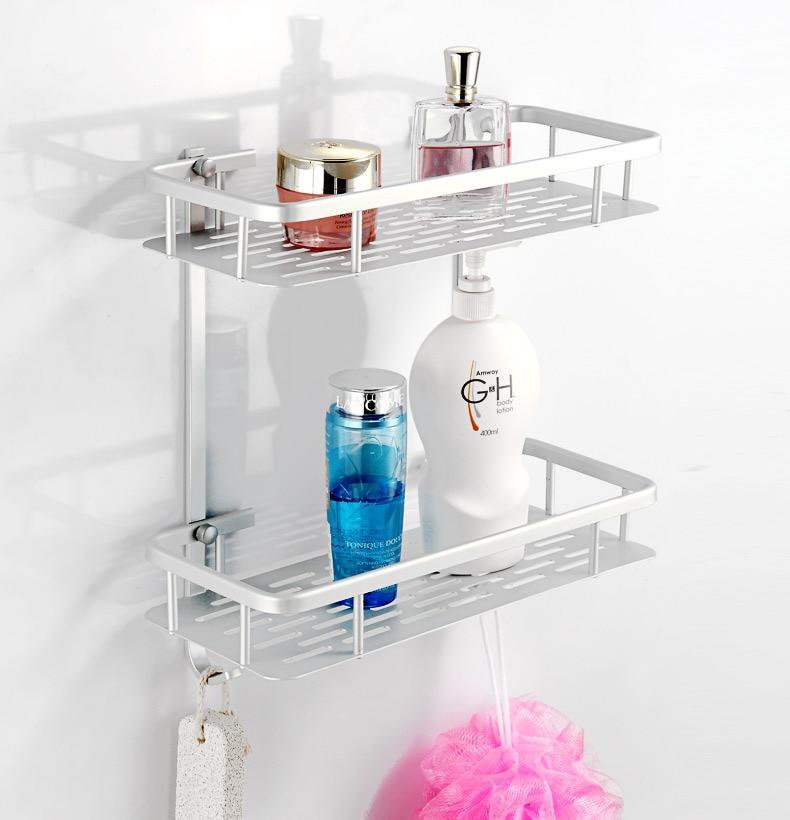 Thick Double Layer Rectangular Aluminium Plate Alumimum Bathroom Rack Toilet Bath Supplies Storage Wholesale