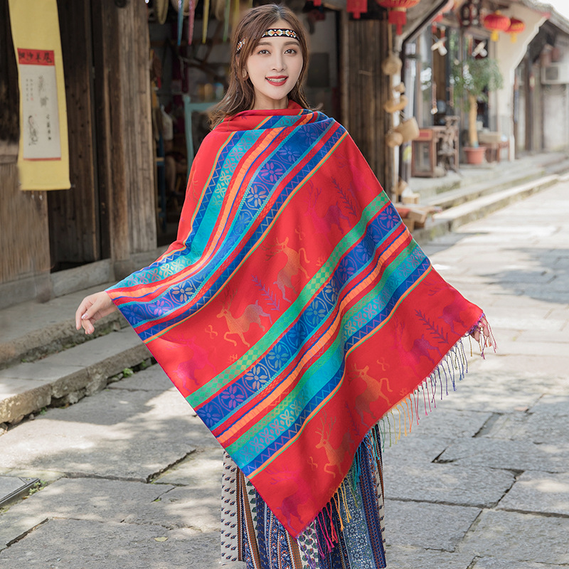 Ladies шарф Jacquard Korean Style Comfortable All-match Shawl Cloak Dual-use Female Blanket Spring Autumn Warm Square Scarf