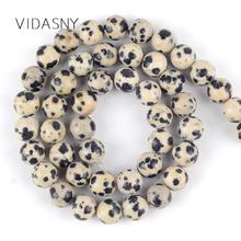 Natural Stone Beads Dalmation Jaspers Round Spacer For Jewelry Making Diy Bracelet Necklace 4/6/8/10/12mm 15 Wholesale