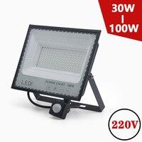 Reflector de inducción LED PIR, Sensor de movimiento, 30W, 50W, 100W, 220V, blanco frío, resistente al agua IP66, iluminación impermeable para exteriores