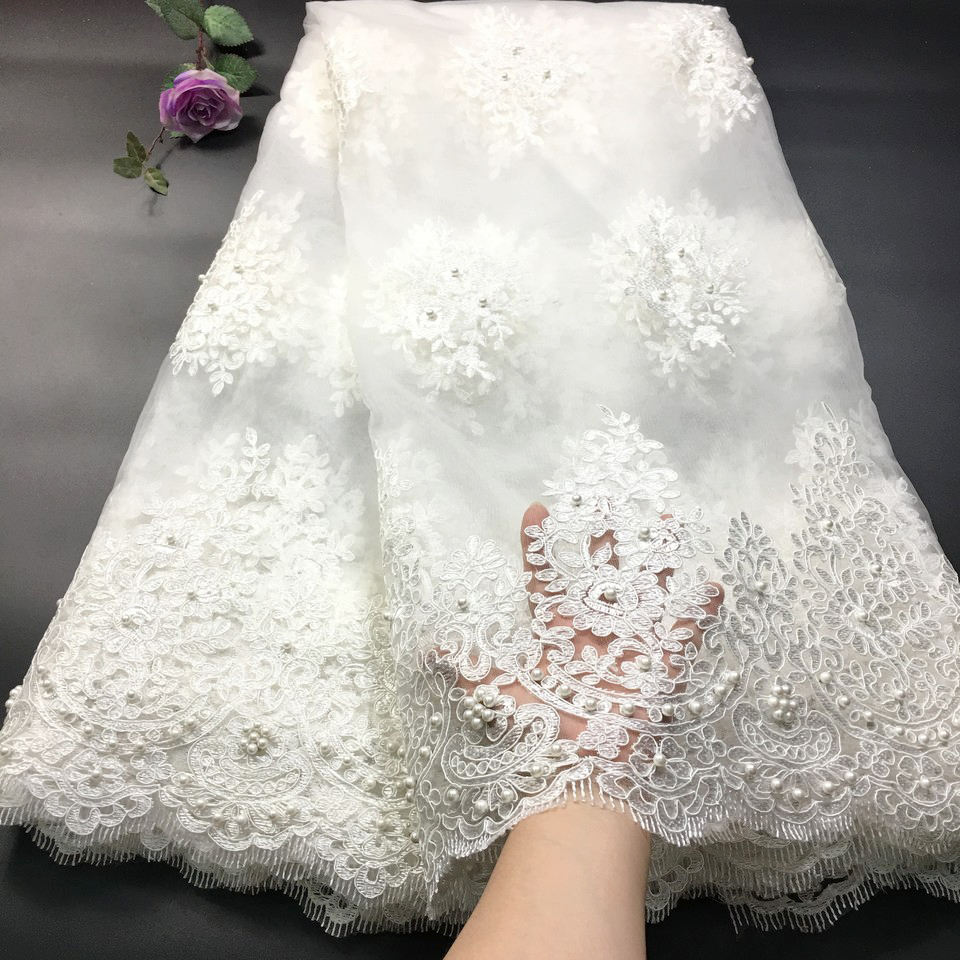 African Lace Fabric 2019 High Quality Lace Ivory Net Lace Fabric Embroidered Tulle Mesh French Lace For Wedding Dress RF27351