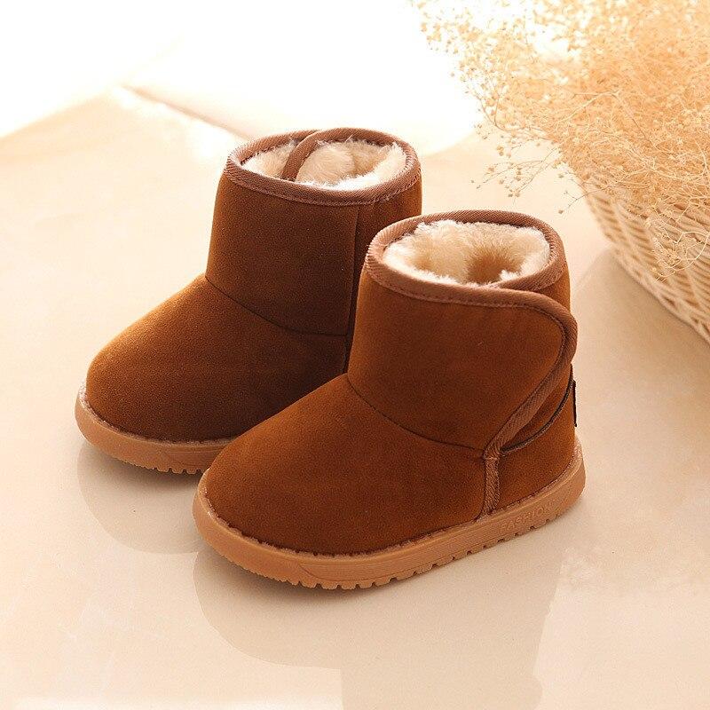 Зимние детские ботинки; толстая теплая обувь с хлопковой подкладкой; замшевые ботинки с волшебным крючком для мальчиков и девочек; зимние