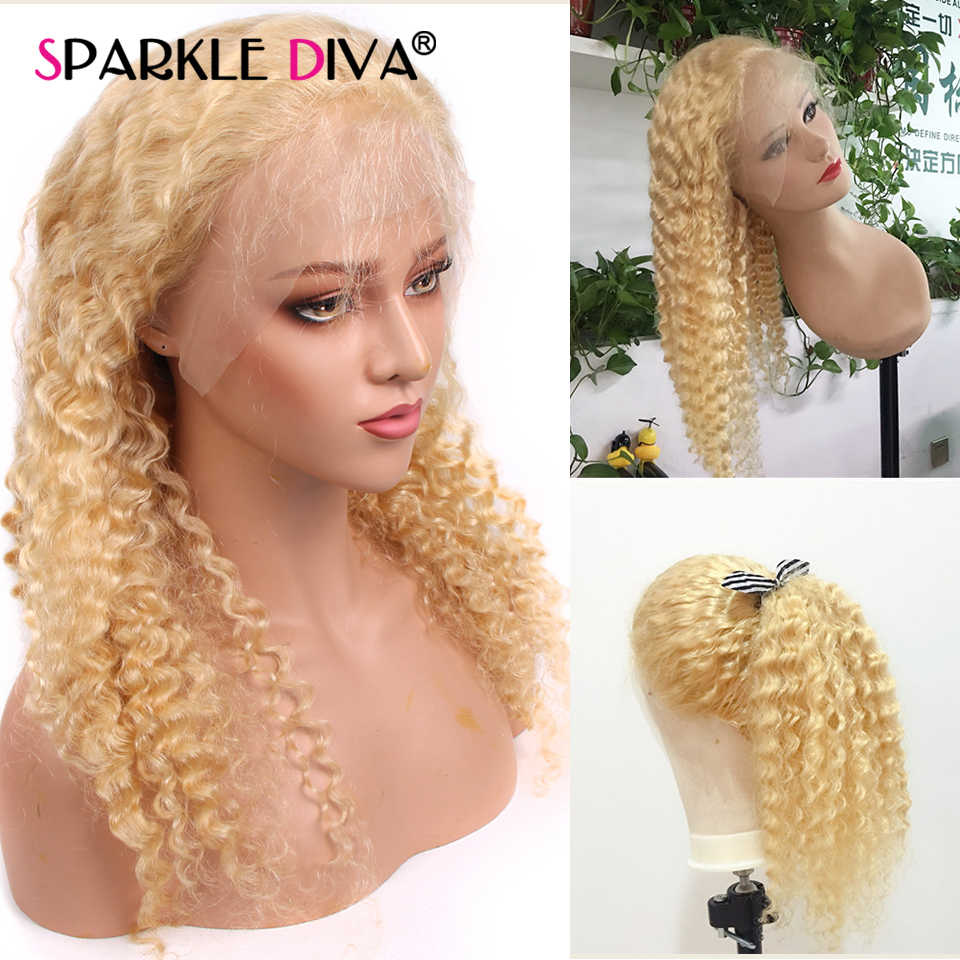 Glueless 613 blond koronki przodu włosów ludzkich peruk 150% gęstości brazylijski peruka z mocnymi lokami wstępnie oskubane miód blond Remy koronkowe peruki