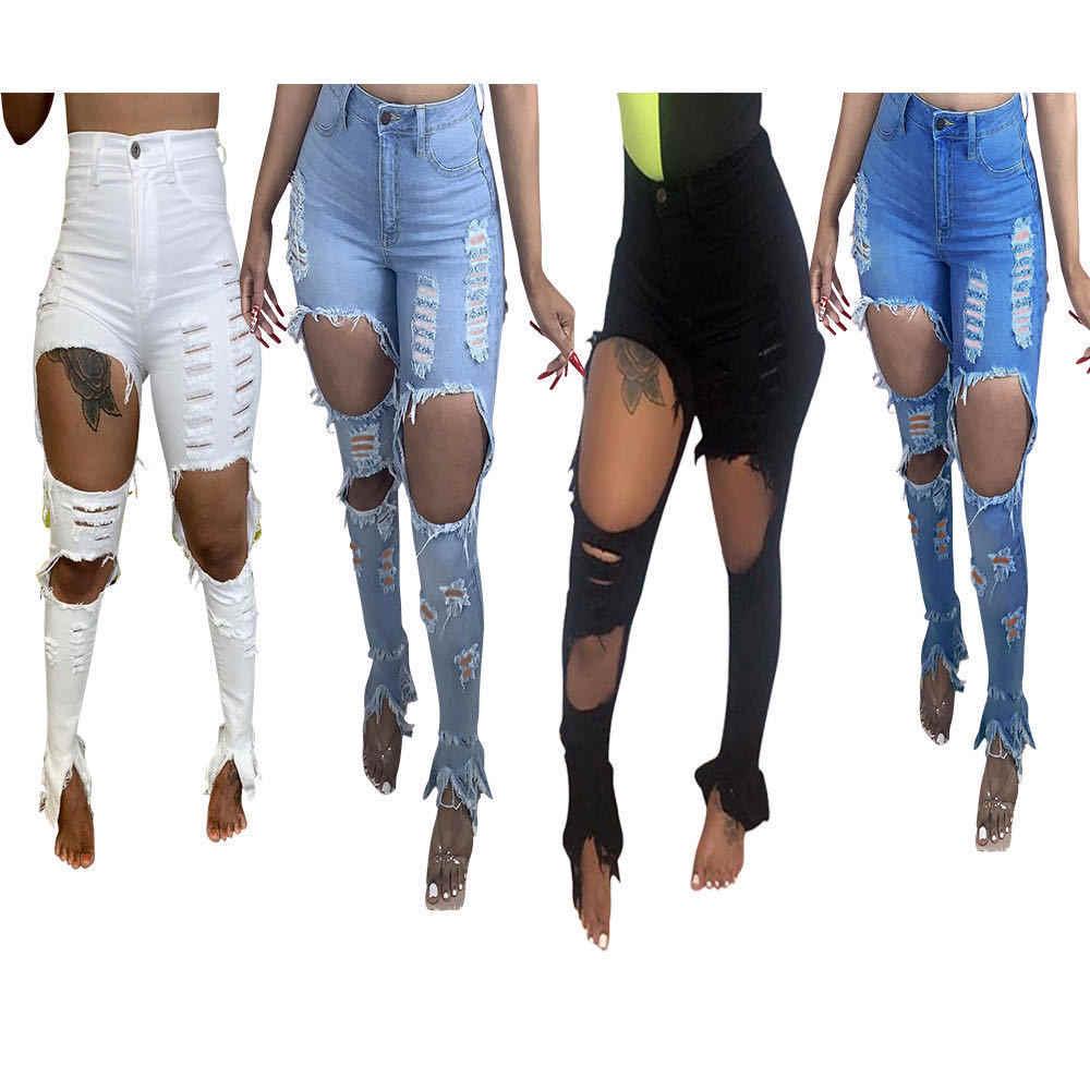 Pantalones Vaqueros Rasgados A La Moda Pantalones De Mezclilla Con Agujeros Y Aberturas Pantalones De Calle Con Cintura Alta Pantalones Vaqueros Elasticos Para Mujer Pantalones Largos Para Mujer Pantalones Vaqueros Aliexpress