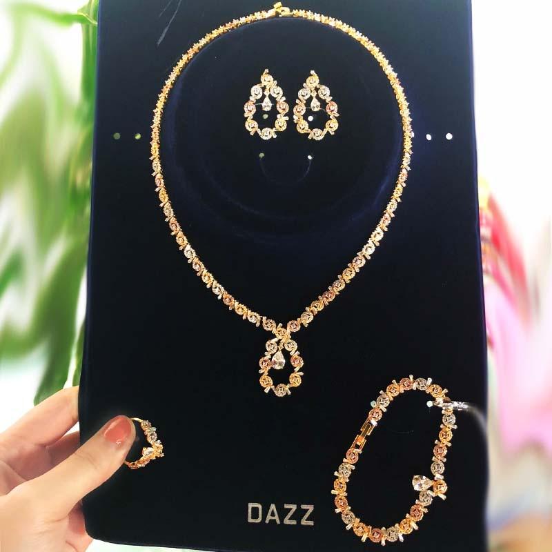 Dazz 4 pièces mode Glamour Cube cubique Zircon ensemble de bijoux Dubai mariée mariage luxe bijoux ensemble 2019