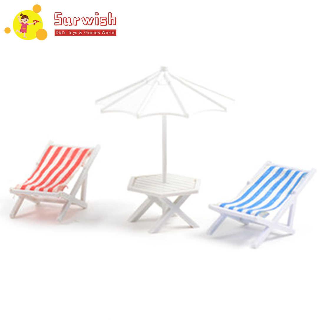 1:50 DIY зонт от солнца стол с пляжным стулом набор домашнее украшение для модели песочный стол