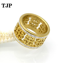 Fashion Brand Trendy Flower Vintage Wedding Rings For Women Classic Design Gold Colour Stainless Steel 2 Row Zircon Crystal Ring цена