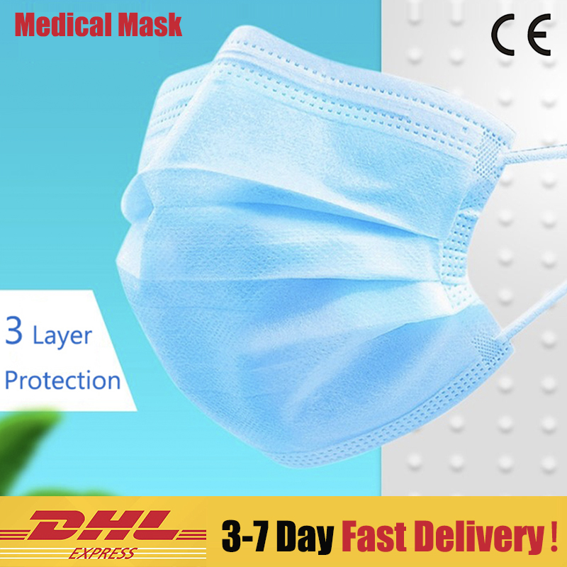 50pcs Medical Face Mask Safe Surgical Mask 3 Layer Disposable Protective Mouth Masks N95 Mask Non-woven Mask Anti Pollution