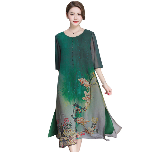 نمط جديد الربيع و الصيف جودة فستان الإناث حجم كبير فضفاض طباعة فستان كامل مادة لينة خمسة أرباع كم فستان M 4XL