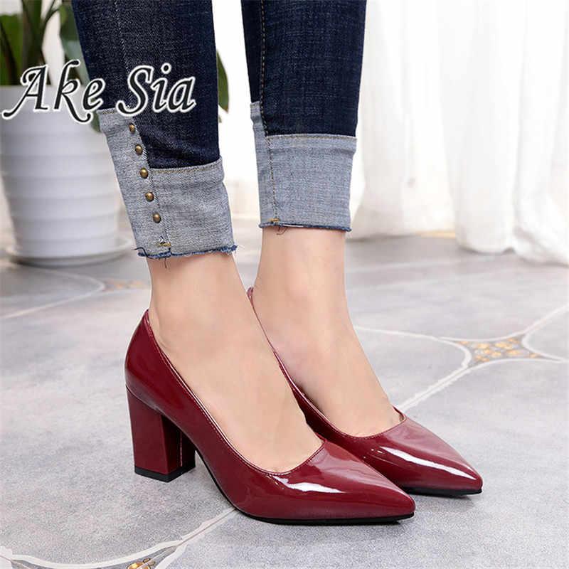 2019 สตรีรองเท้าส้นสูง SEXY PARTY กลาง Heel ชี้ Toe ปากตื้นรองเท้าส้นสูงรองเท้าผู้หญิงรองเท้าขนาด 35 -43 mujer