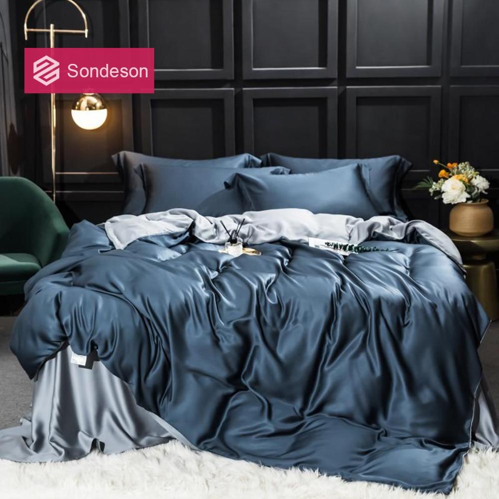 Sondeson Dark Blue 100 Silk Bedding Set 25 Momme Top Grade Silk Duvet Cover Set Flat