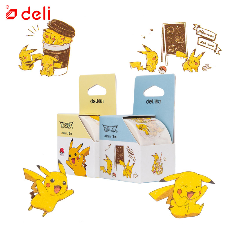 Deli Washi Tape Pikachu Cute Animal Digimon Pattern Scrapbooking Paper Decor Student Stationery Office Supplies 1pcs