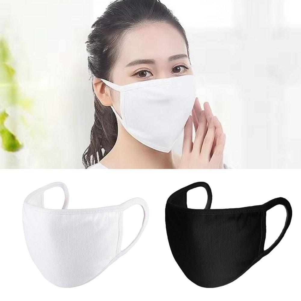 1pc Unisex Black White Mask Outdoor Riding Windproof Soft Cloth Cover Face Earloop Dustproof Gauze Masks Cotton Breathing M T2H2